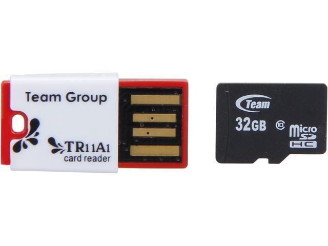 Team 32GB microSDHC Flash Card With Card Reader Model TUSDH32GCL1034