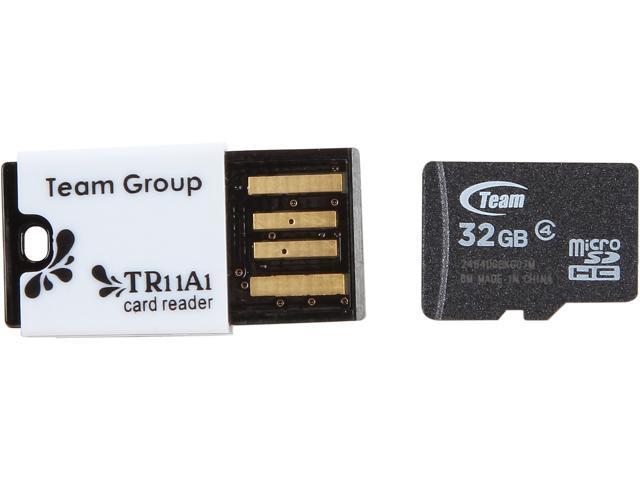 Team 32GB microSDHC Flash Card With Card Reader Model TUSDH32GCL433