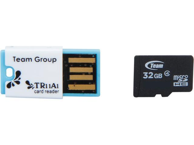 Team 32GB microSDHC Flash Card With Card Reader Model TUSDH32GCL432