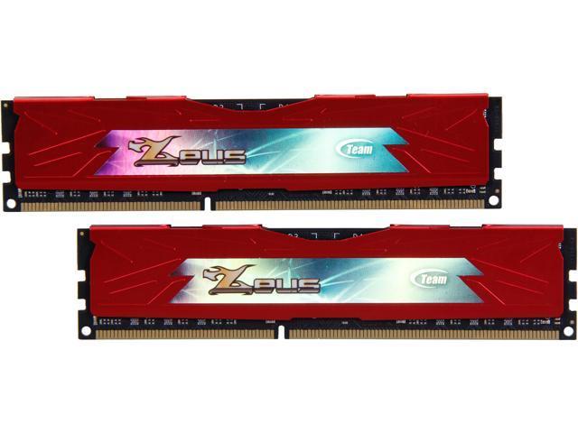 Team Zeus Red 8GB (2 x 4GB) 240-Pin DDR3 SDRAM DDR3 1600 (PC3 12800) Desktop Memory Model TZRD38G1600HC9DC01