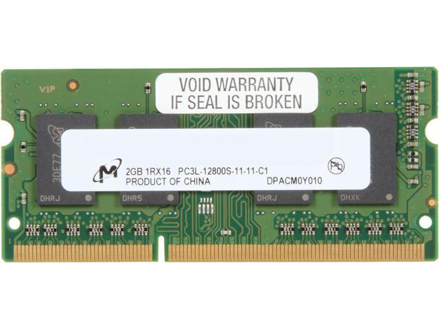 Micron 2GB 204-Pin DDR3 SO-DIMM DDR3L 1600 (PC3L 12800) Laptop Memory Model MT4KTF25664HZ-1G6E1