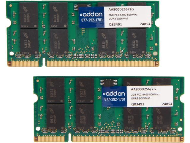 AddOn - Memory Upgrades 4GB (2 x 2GB) 200-Pin DDR SO-DIMM DDR2 800 (PC2 6400) Laptop Memory Model MB413G/A-AA