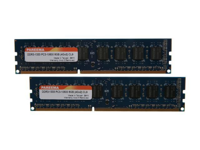 Pareema 8GB (2 x 4GB) 240-Pin DDR3 SDRAM DDR3 1333 (PC3 10600) Desktop Memory Model MD313C81609L2