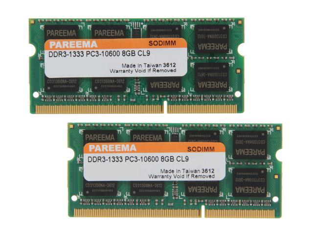 Pareema 16GB (2 x 8G) 204-Pin DDR3 SO-DIMM DDR3 1333 (PC3 10600) Laptop Memory Model MD313D81609S2