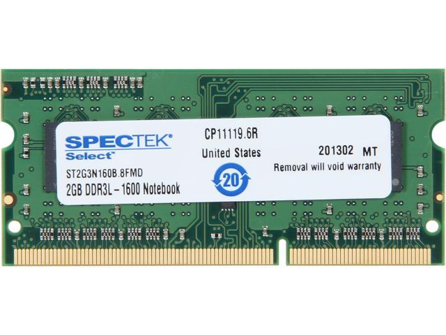 SPECTEK by Micron Technology 2GB 204-Pin DDR3 SO-DIMM DDR3 1600 (PC3 12800) Laptop Memory Model ST2G3N160B