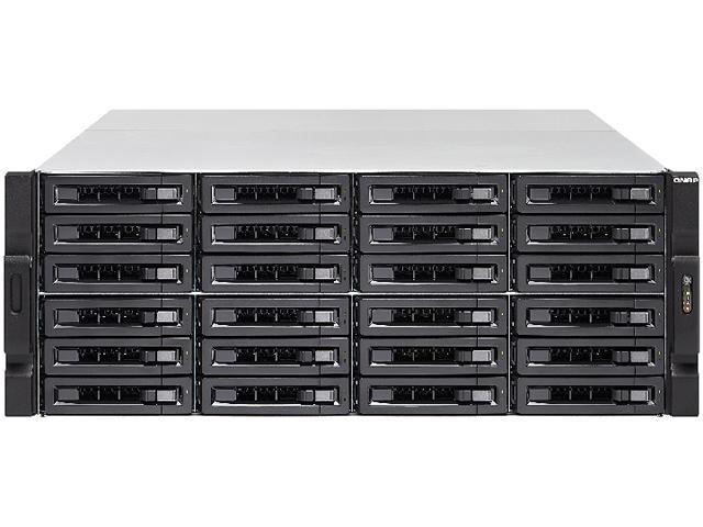 QNAP 24-bay 10GbE NAS and iSCSI/ IP-SAN. 4U, SAS 12G, SAS/SATA 6G, 4 x 1GbE,  Build in 2 x 10GbE (SFP+), 40GbE-ready, Redundant PSU