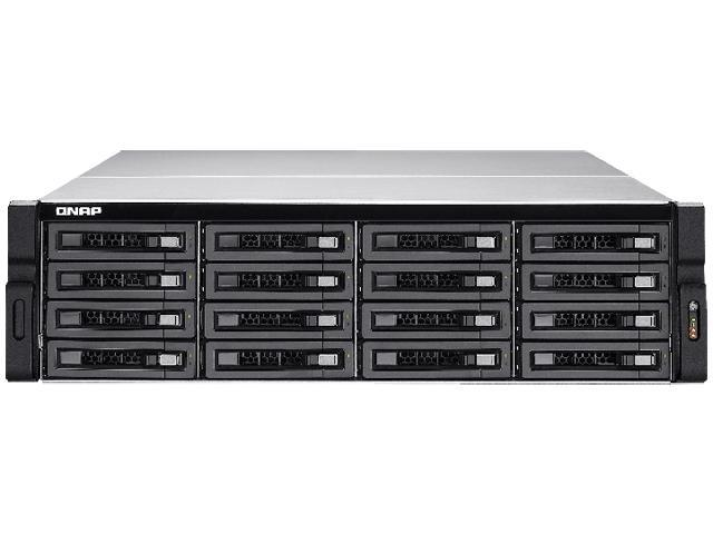 QNAP 16-Bay 10GbE iSCSI NAS, 3U, SATA 6G, 4 x 1GbE, 2 x 10GbE (SFP+), 40GbE-ready, Redundant PSU