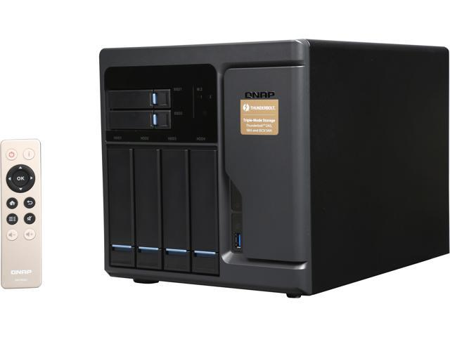 QNAP High Performance 6 bay (4+2) Thunderbolt 2 DAS/NAS/iSCSI IP-SAN Solution. Intel Skylake Core i3-6100 3.7 GHz Dual core, 8GB RAM, Thunderbolt port x 2 and 10Gbase-T x 2