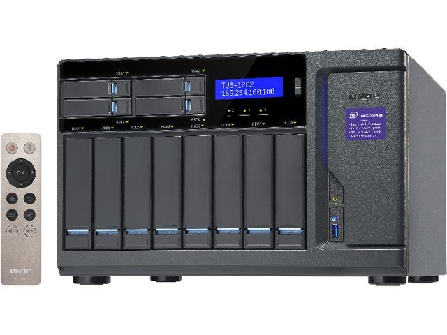 QNAP High Performance 12 bay (8+4) NAS/iSCSI IP-SAN. Intel Skylake Core i5 3.6 GHz Quad Core, 16GB RAM, 10G-ready, 450W power supply