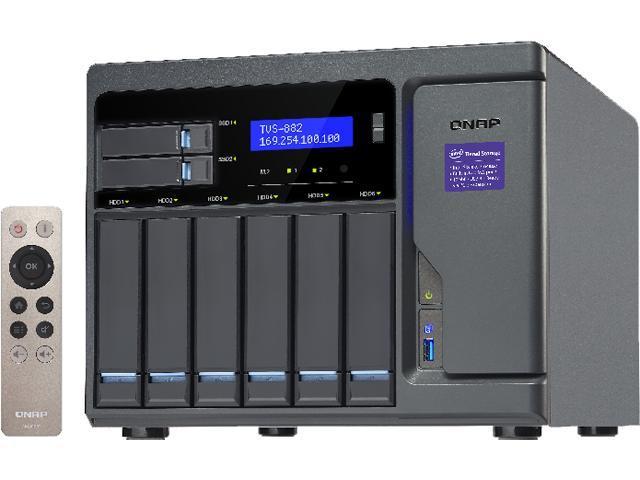 QNAP High Performance 8 bay (6+2) NAS/iSCSI IP-SAN. Intel Skylake Core? i3-6100 3.7 GHz Dual core, 8GB RAM, 10G-ready