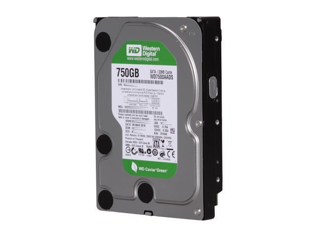"Western Digital WD Green WD7500AADS 750GB 32MB Cache SATA 3.0Gb/s 3.5"" Hard Drive Bare Drive"