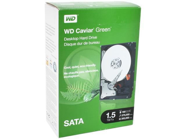 """WD WD Green WDBAAY0015HNC-NRSN 1.5TB 32MB Cache SATA 3.0Gb/s 3.5"""" Internal Hard Drive Retail kit"""