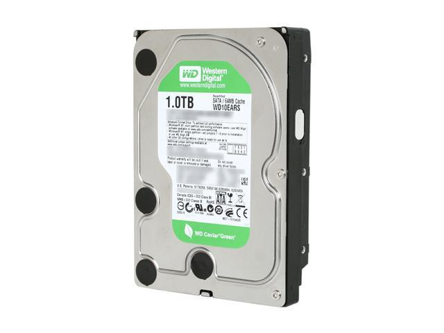 "Western Digital WD Green WD10EARS 1TB 64MB Cache SATA 3.0Gb/s 3.5"" Internal Hard Drive -Manufacture Recertified Bare Drive"
