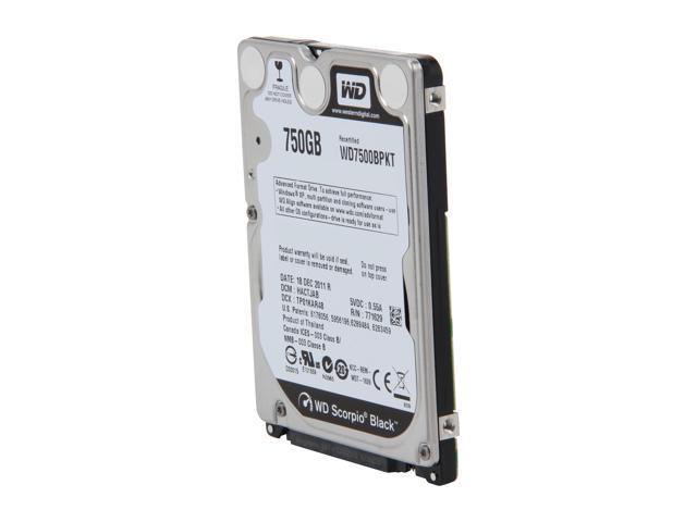WD Scorpio Black WD7500BPKT 750GB 7200 RPM 16MB Cache SATA 3.0Gb/s 2.5
