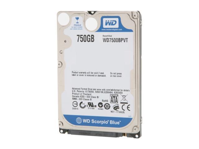 WD Scorpio Blue WD7500BPVT 750GB 5400 RPM 8MB Cache SATA 3.0Gb/s 2.5