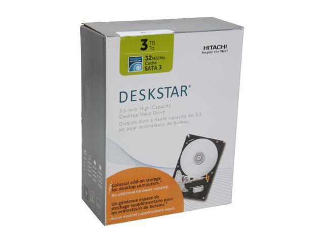 """Hitachi GST Deskstar H3IK30003254SP (0S03228) 3TB 5400 RPM 32MB Cache SATA 6.0Gb/s 3.5"""" Internal Hard Drive"""