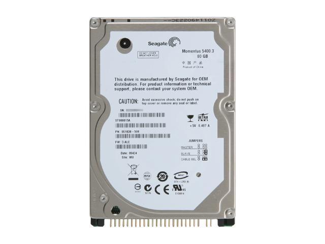 "Seagate Momentus 5400.3 ST980815A 80GB 5400 RPM 8MB Cache IDE Ultra ATA100 / ATA-6 2.5"" Internal Notebook Hard Drive Bare ..."