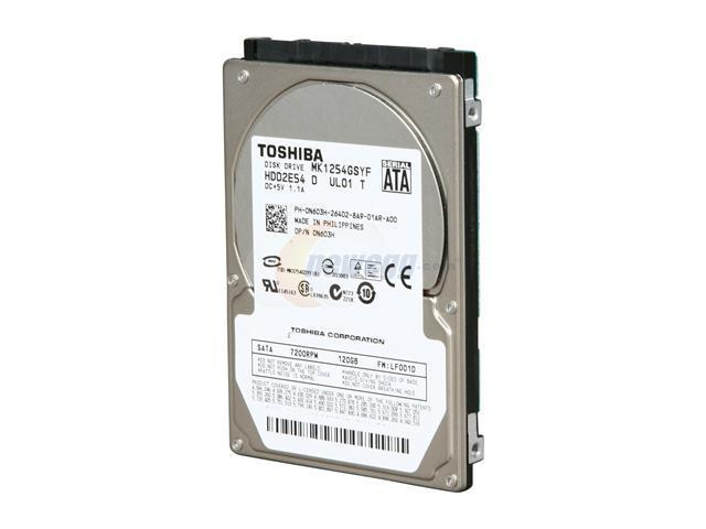 TOSHIBA MK1254GSYF 120GB 7200 RPM 16MB Cache SATA 2.5