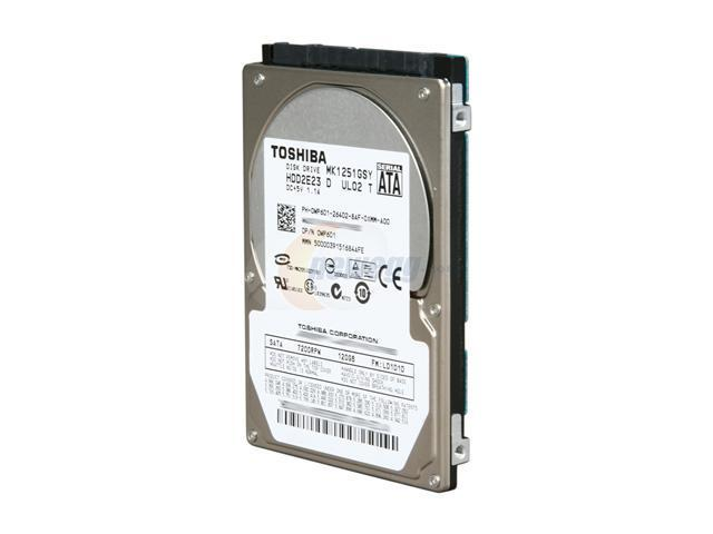 "TOSHIBA MK1251GSY 120GB 7200 RPM 16MB Cache SATA 3.0Gb/s 2.5"" Internal Notebook Hard Drive Bare Drive"