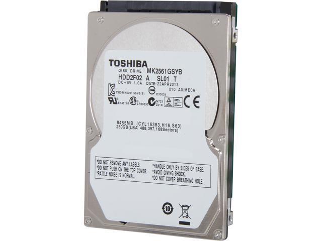 "TOSHIBA MK2561GSYB 250GB 7200 RPM 16MB Cache SATA 3.0Gb/s 2.5"" Internal Notebook Hard Drive Bare Drive"