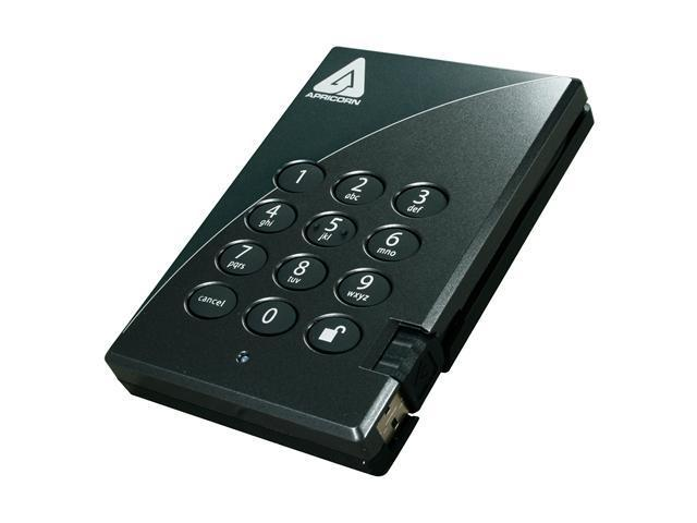 APRICORN 640GB Aegis Padlock Secure 256-bit AES Hardware Encrypted Portable Hard Drive USB 2.0 Model A25-PL256-640