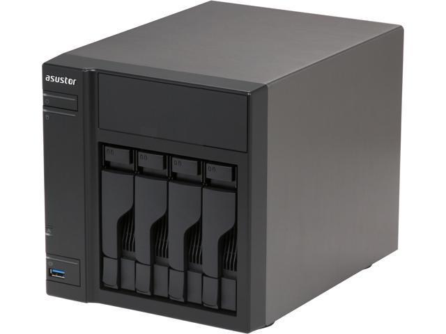 Asustor AS-304T 4-Bay NAS, Intel ATOM Dual Core, 1GB DDR3, GbE x1, USB 3.0 & SATA III, WoL, System Sleep Mode
