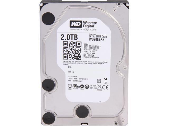 WD WD Green WD20EZRX 2TB IntelliPower 64MB Cache SATA 6.0Gb/s 3.5