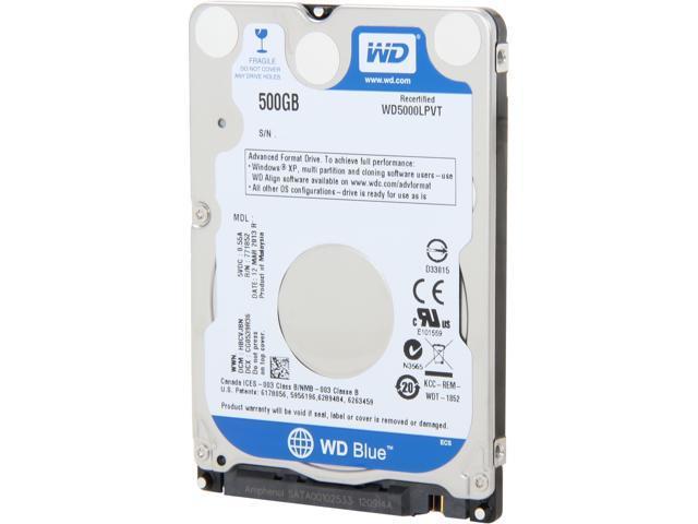 """Western Digital Scorpio Blue WD5000LPVT 500GB 5400 RPM 8MB Cache SATA 3.0Gb/s 2.5"""" Internal Notebook Hard Drive Bare Drive"""