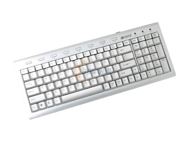 HIPER HCK-1S18-A-XX Silver USB or PS/2 Slim Alloy Keyboard