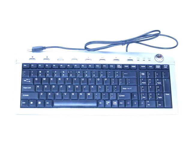 SolidTek KB-2070MSU Black / Silver USB Wired Slim Keyboard