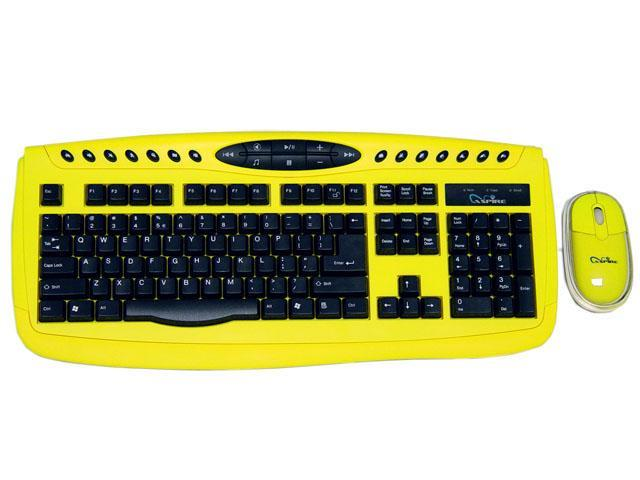 APEVIA KI-COMBO-YL Yellow Keyboard and Optical Scroll Mouse Combo Set