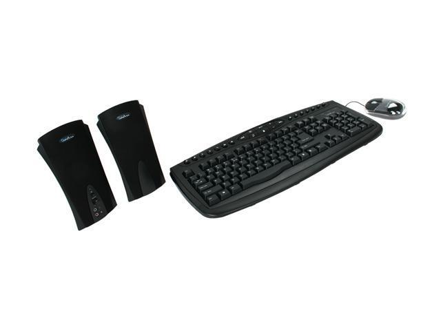 APEVIA KIS-COMBO-BK Black PS/2 Wired Standard Keyboard Scroll Mouse and Dual Speaker Combo Set