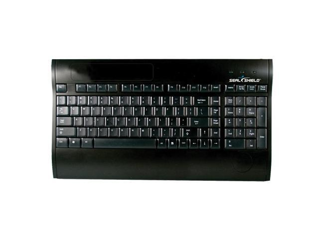 SEAL SHIELD S103R Black SILVER SURF Multimedia Keyboard with Smart Card Reader - Dishwasher Safe & Antimicrobial