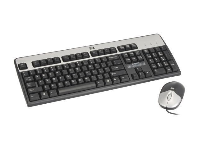 HP KF886AT Silver/Black PS/2 Wired Slim Keyboard and Mouse Kit