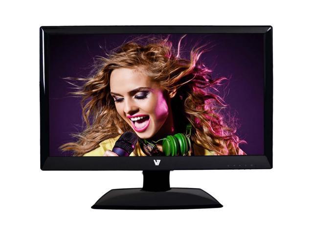 """V7 Glossy Black 24"""" 5ms LED Backlight LCD Monitor Built-in Speakers"""