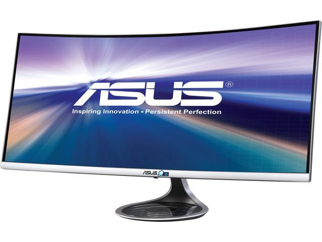 "ASUS Designo Curved MX34VQ 34"" UWQHD 100Hz DP HDMI Adaptive-Sync Qi Wireless Charger Eye Care Frameless Monitor"