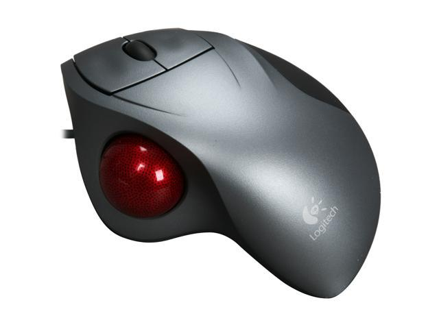 logitech gray wired trackman wheel mouse   newegg