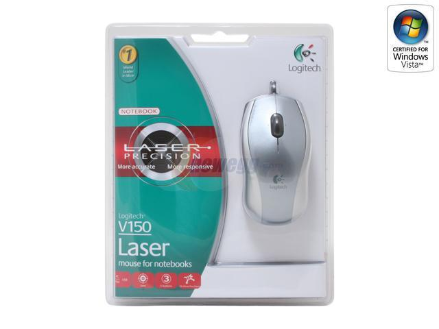 Logitech V150 3 Buttons Tilt Wheel USB Wired Laser Mouse for Notebooks