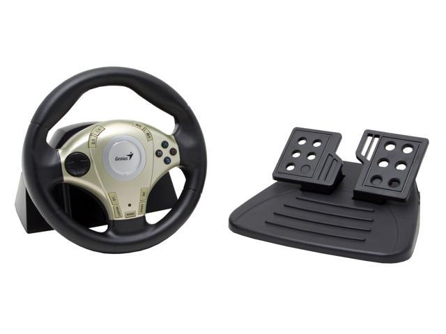 Genius Twin Wheel F1 - Vibration Feedback Racing Wheel for PS2 & PC with D-Pad Included