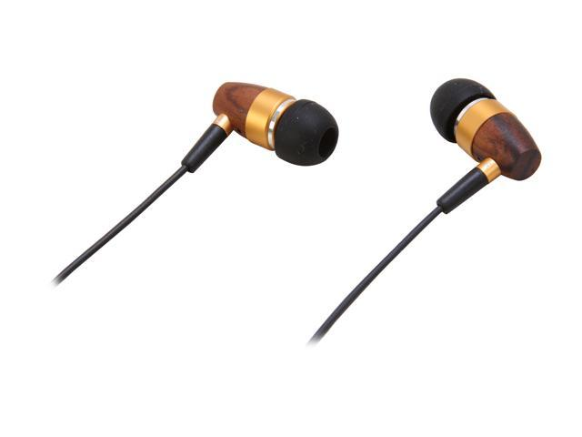 Rosewill RHTS-11002 3.5mm Gold-Plated Connector Canal High Fidelity Passive Noise Isolating Rosewood Earbuds