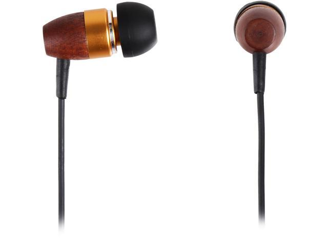 Rosewill Brown/Gold Canal High Fidelity Passive Noise Isolating Rosewood Earbuds - RHTS-11002