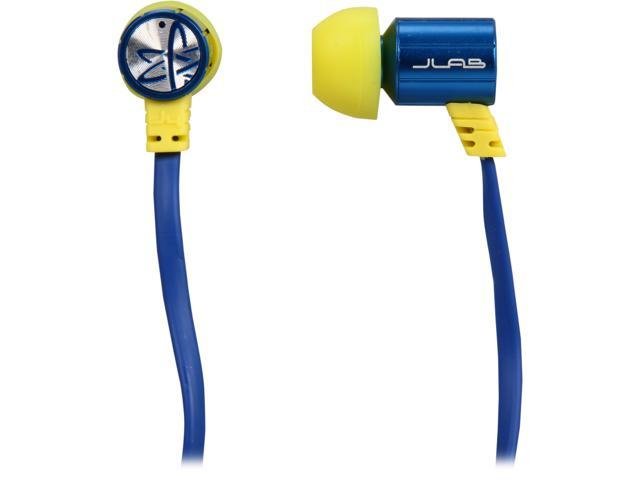 JLAB Blue/Yellow J4-BLUYLW-FFP 3.5mm Connector JBuds J4 Rugged Metal In-Ear Earbuds Style Headphones with Travel Case