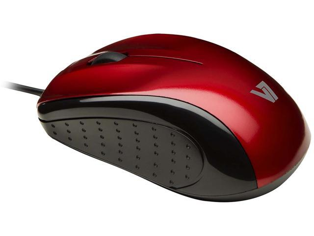V7 Mid Size USB Optical Mice MV3010010-RED-5NB Red 3 Buttons 1 x Wheel USB Wired Optical Mouse