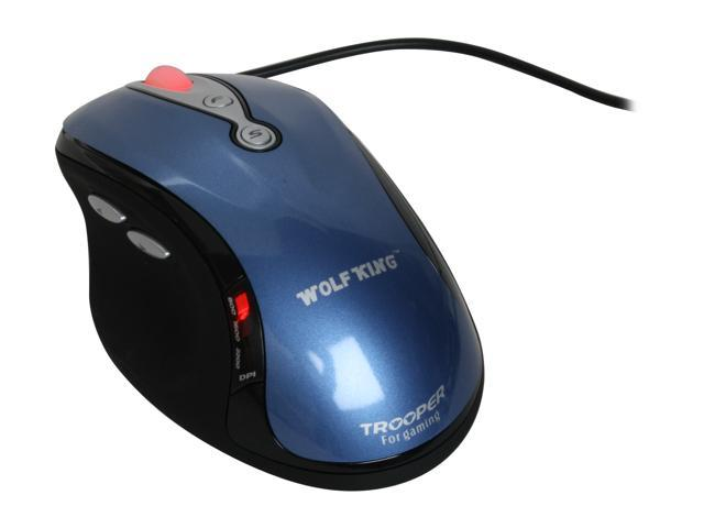 WOLF KING Trooper MSWOLTROOPERBLUE Blue 5 Buttons 1 x Wheel Laser Mouse