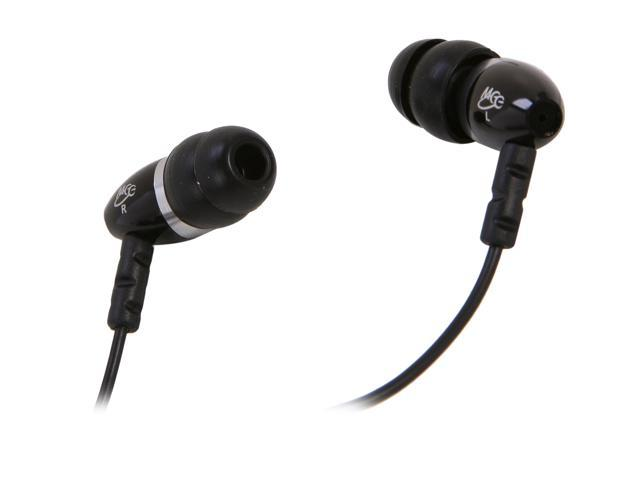 Mee audio Black N9-BK 45 degree 3.5mm stereo, gold plated Connector Binaural Noise Isolasion In Ear Headphones (Black )