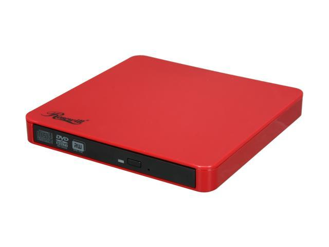 Rosewill ROD-EX003-R - Slim USB 2.0 Gloss Red External Optical Drive & 8X DVD Writer for PCs