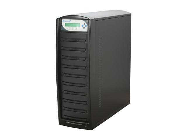 VINPOWER Black 1 to 9 128M Buffer Memory DVD/CD Tower Duplicator with 250GB HDD LightScribe Support Model VP4690-LS-9BK-250GB