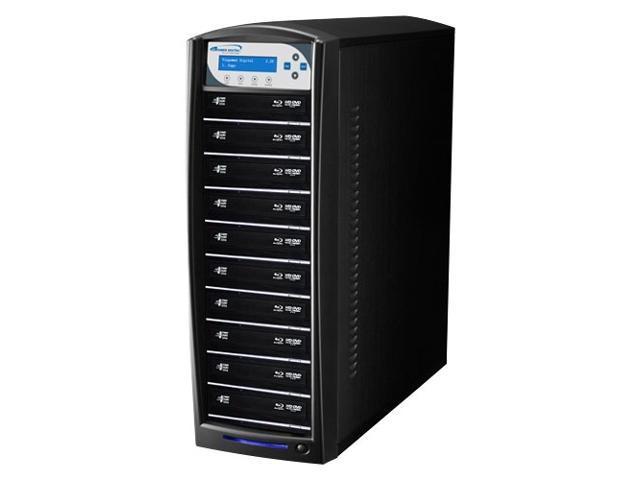VINPOWER Black 1 to 10 SharkNet Network Capable Blu-ray DVD CD Duplicator + USB 3.0 + 500GB HDD Model SharkNet-10T-BD-BK