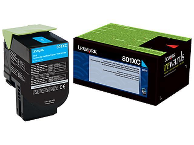 LEXMARK 80C1XC0 801XC Cyan Extra High Yield Return Program Toner Cartridge Cyan