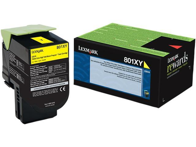 LEXMARK 80C1XY0 801XY Yellow Extra High Yield Return Program Toner Cartridge Yellow